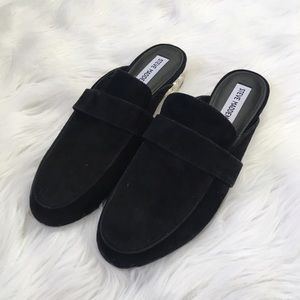 Steve Madden Black Suede Leather Pearl Mules